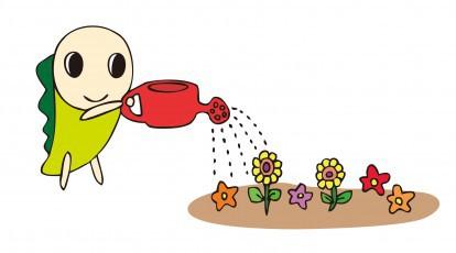 なみすけ_花に水をやる